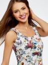Платье трикотажное без рукавов oodji #SECTION_NAME# (белый), 14015005/45446/1019F