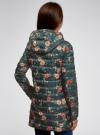 Куртка удлиненная с капюшоном oodji #SECTION_NAME# (зеленый), 10204058-1B/46708/6954F - вид 3