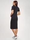 Платье трикотажное приталенное oodji #SECTION_NAME# (черный), 14011071-2/47420/2910P - вид 3