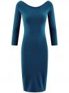 Платье облегающее с вырезом-лодочкой oodji для женщины (синий), 14017001-6B/47420/7901N