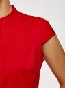 Рубашка с воротником-стойкой и коротким рукавом реглан oodji для женщины (красный), 13K03006B/26357/4500N