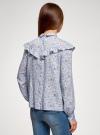 Блузка принтованная с воланами oodji #SECTION_NAME# (синий), 11400449-1/26346/7012F - вид 3