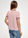 Блузка из струящейся ткани с контрастной отделкой oodji #SECTION_NAME# (розовый), 11401272-1/36215/4129B - вид 3