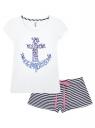 Пижама с шортами и принтом на груди oodji #SECTION_NAME# (белый), 56002188/46147/1075P