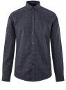 Рубашка хлопковая в мелкую графику oodji #SECTION_NAME# (синий), 3L110335M/19370N/7937G