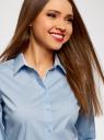 Блузка хлопковая с рукавом 3/4 oodji #SECTION_NAME# (синий), 13K03005B/26357/7000B - вид 4