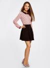 Блузка из струящейся ткани с контрастным воротником oodji #SECTION_NAME# (розовый), 11411117/36005/5429Q - вид 6