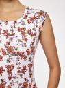 Платье трикотажное с круглым вырезом oodji для женщины (белый), 14008014-6B/46943/1245F