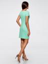 Платье трикотажное с вырезом-лодочкой oodji для женщины (зеленый), 14001117-2B/16564/6500N