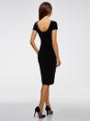 Платье миди с вырезом на спине oodji #SECTION_NAME# (черный), 24001104-8B/48621/2900N - вид 3