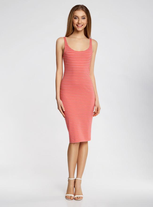 Платье трикотажное на тонких бретелях oodji для женщины (красный), 14015007-1B/45450/4310S