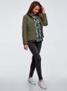 Куртка стеганая с воротником-стойкой oodji #SECTION_NAME# (зеленый), 18304009-2B/48327/6800B - вид 6