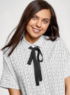 Блузка вискозная с завязками на воротнике oodji #SECTION_NAME# (белый), 11405143/48458/1029O - вид 4