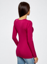 Футболка хлопковая с длинным рукавом oodji для женщины (розовый), 14201033B/46147/4C00N