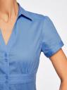 Рубашка с V-образным вырезом и отложным воротником oodji #SECTION_NAME# (синий), 11402087/35527/7500N - вид 5