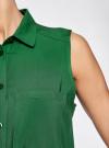 Топ вискозный с нагрудным карманом oodji для женщины (зеленый), 11411108B/26346/6E00N - вид 5