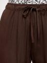 Брюки вискозные на завязках oodji #SECTION_NAME# (коричневый), 13F11001B/26346/3700N - вид 4