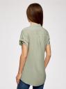 Блузка из вискозы с нагрудными карманами oodji #SECTION_NAME# (зеленый), 11400391-4B/24681/6000N - вид 3