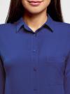 Блузка прямого силуэта с нагрудным карманом oodji #SECTION_NAME# (синий), 11411134B/46123/7501N - вид 4
