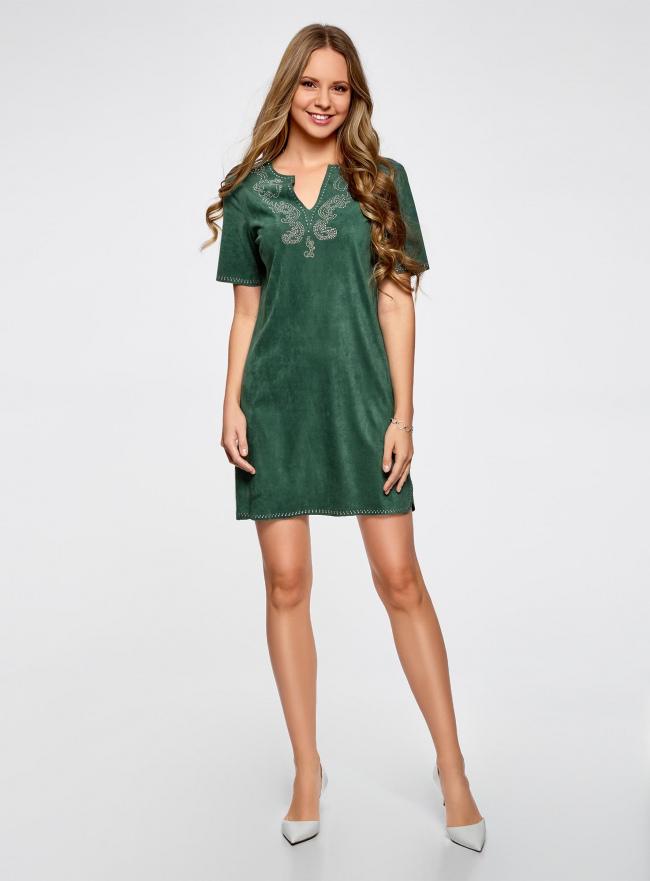 Платье из искусственной замши с декором из металлических страз oodji для женщины (зеленый), 18L01001/45622/6E00N