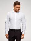 Рубашка базовая приталенного силуэта oodji для мужчины (белый), 3B110012M/23286N/1000N - вид 2