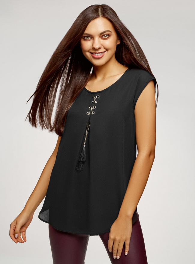 Блузка комбинированная без рукавов oodji #SECTION_NAME# (черный), 11411199/36215/2900N
