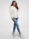 Блузка прямого силуэта с вышивкой oodji #SECTION_NAME# (белый), 11411134-2B/49474/1245O - вид 6