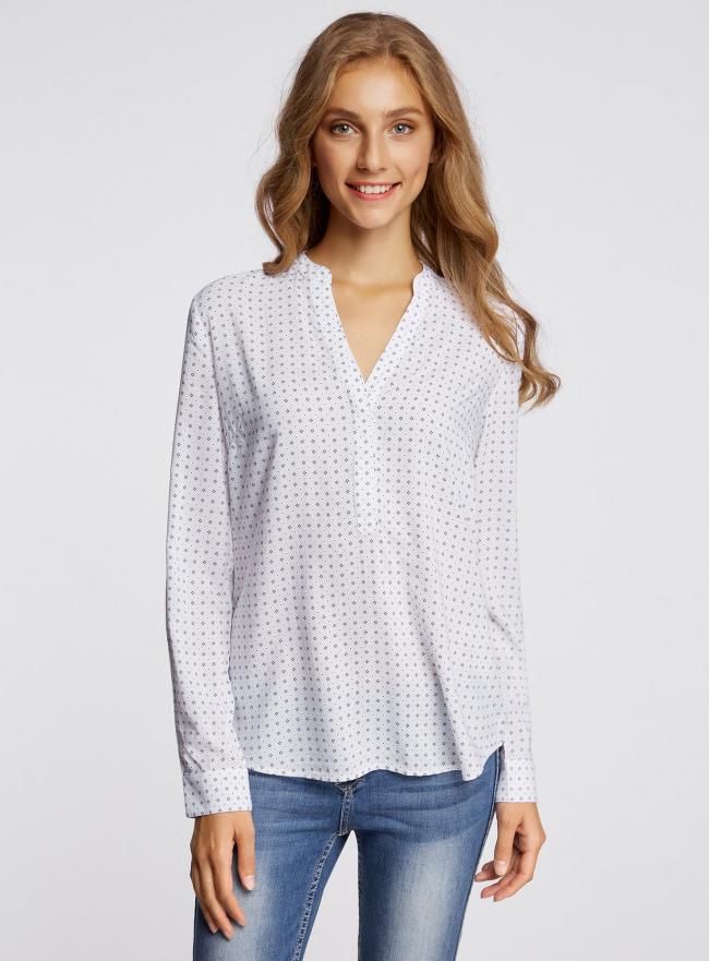 Блузка принтованная из вискозы oodji для женщины (белый), 21400394-1/24681/1075G