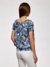 Блузка принтованная из шифона oodji #SECTION_NAME# (слоновая кость), 11400344-3/17358/1275E - вид 3