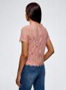 Блузка ажурная с коротким рукавом oodji #SECTION_NAME# (розовый), 11401277/48132/4B00L - вид 3