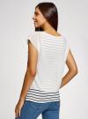 Блузка комбинированная с принтом oodji #SECTION_NAME# (белый), 21400311-6/15018/1019F - вид 3