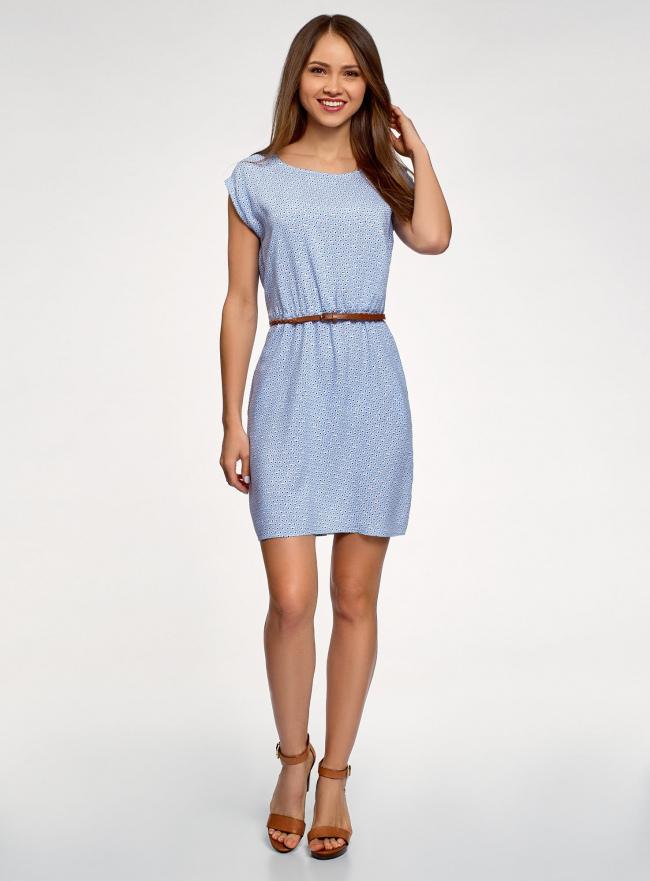 Платье вискозное без рукавов oodji #SECTION_NAME# (синий), 11910073B/26346/7010G