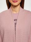 "Кардиган ""в косичку"" без застежки oodji для женщины (розовый), 73212383-2B/46139/4A00N - вид 4"