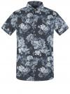 Рубашка принтованная с коротким рукавом oodji #SECTION_NAME# (синий), 3L410133M/44425N/7970F
