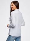 Рубашка хлопковая с декором на воротнике oodji #SECTION_NAME# (белый), 11410019/26357/1000X - вид 3