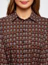 Туника принтованная из вискозы с ремнем oodji для женщины (коричневый), 21412057-4/24681/5533E