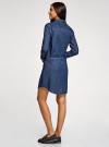 Платье джинсовое с поясом и нагрудным карманом oodji для женщины (синий), 12909044/45251/7900W - вид 3