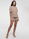 Пижама принтованная из хлопка oodji для женщины (бежевый), 56002243/47885N/3312Q