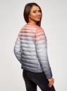 Куртка стеганая с круглым вырезом oodji #SECTION_NAME# (разноцветный), 10204040-1B/42257/4575T - вид 3
