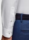 Рубашка хлопковая приталенная oodji #SECTION_NAME# (белый), 3B110007M/34714N/1000N - вид 5