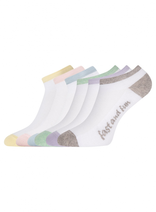 Комплект укороченных носков (6 пар) oodji для женщины (разноцветный), 57102605T6/48022/12