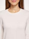 Джемпер с длинным рукавом и круглым вырезом oodji для женщины (белый), 73812659-6B/45647/1200M