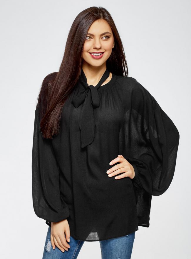 Блузка свободного кроя из вискозы oodji #SECTION_NAME# (черный), 11411122M/45190/2900N
