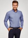 Рубашка приталенная с пуговицами на воротнике oodji #SECTION_NAME# (синий), 3L110243M/19370N/1075F - вид 2
