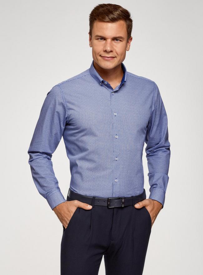 Рубашка приталенная с пуговицами на воротнике oodji #SECTION_NAME# (синий), 3L110243M/19370N/1075F