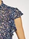 Блузка шифоновая с бантом oodji #SECTION_NAME# (синий), 11411189/17358/7919F - вид 5