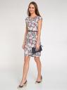Платье трикотажное с принтом oodji для женщины (бежевый), 24008033-1/16300/3379U