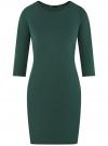 Платье трикотажное с рукавом 3/4 oodji #SECTION_NAME# (зеленый), 24001100-2/42408/6E00N