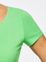 Футболка базовая приталенная oodji для женщины (зеленый), 14701005-7B/46147/6500N
