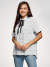 Блузка вискозная с завязками на воротнике oodji #SECTION_NAME# (белый), 11405143/48458/1029O - вид 2